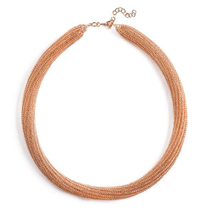 Rose Gold tube necklace , double knitted tube made of rose gold filled - Yooladesign