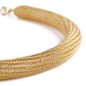 Gold tube necklace , double knitted tube - Yooladesign