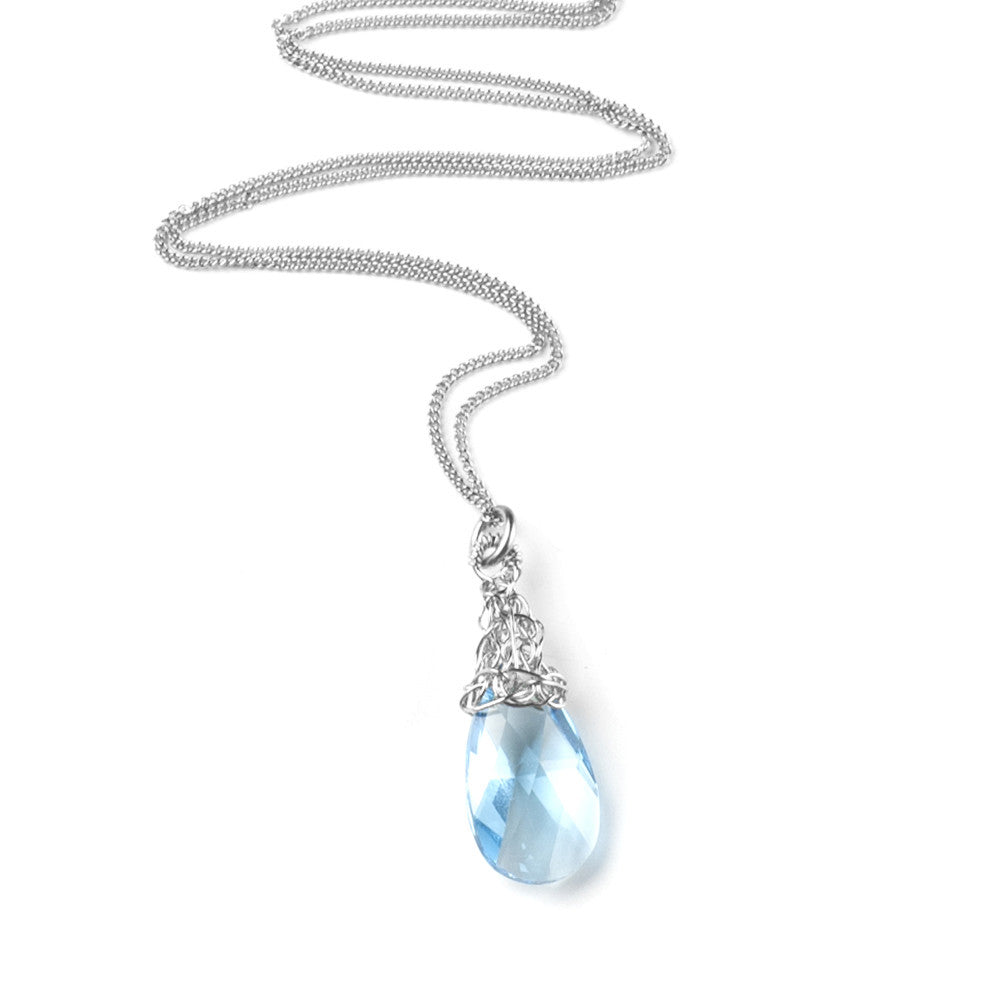 Bridesmaids Necklace, Silver and Blue Crystal , Original Swarovski - Yooladesign