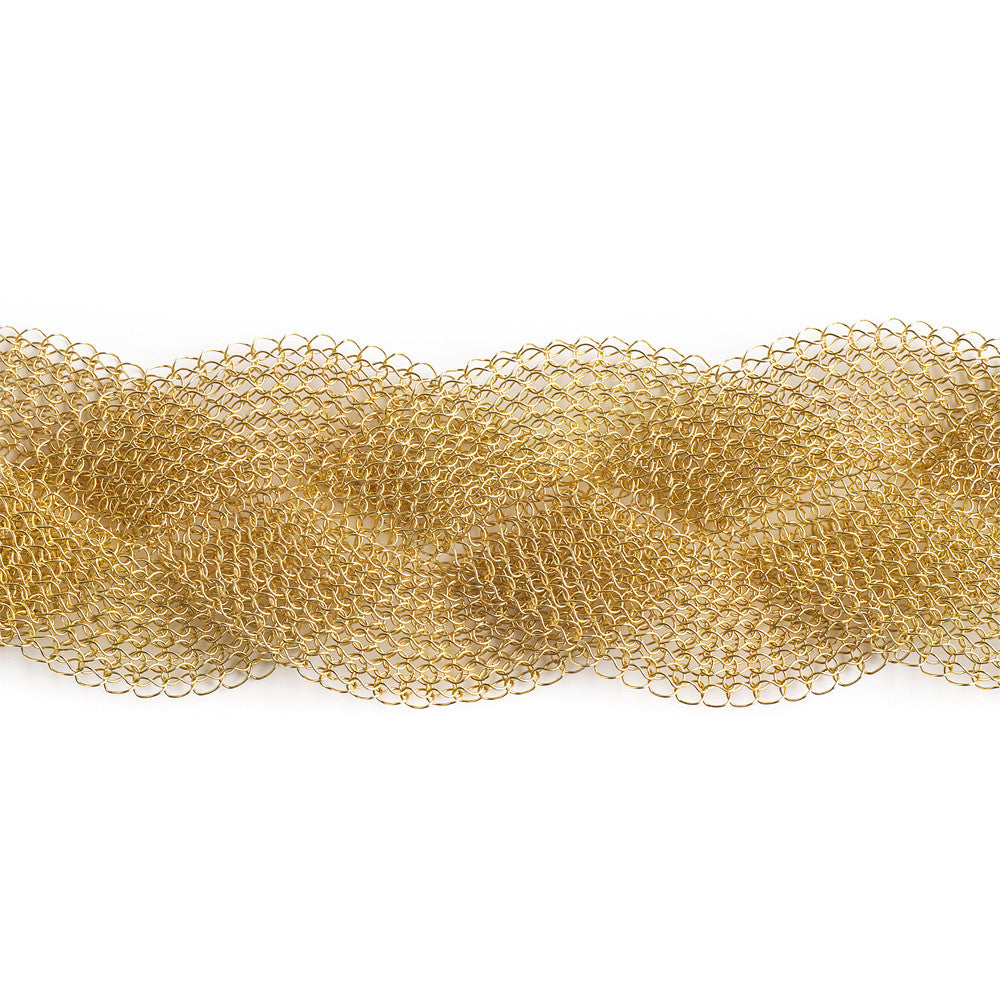 Gold Braided Bracelet , gold filled wire crochet woven cuff bracelet - Yooladesign