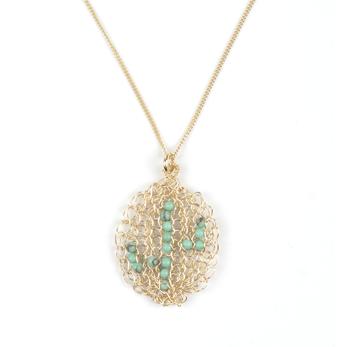 Cactus necklace - gold and turquoise - Yooladesign