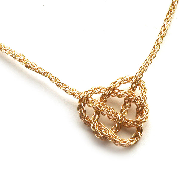 Celtic heart knot necklace , wire crochet in gold - Yooladesign