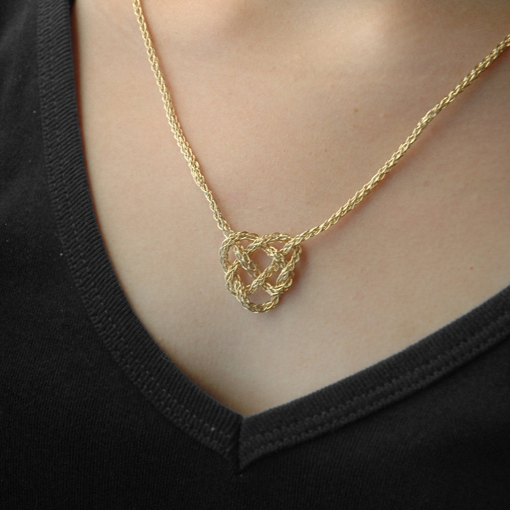 Celtic heart knot necklace wire crochet in gold yooladesign aloadofball