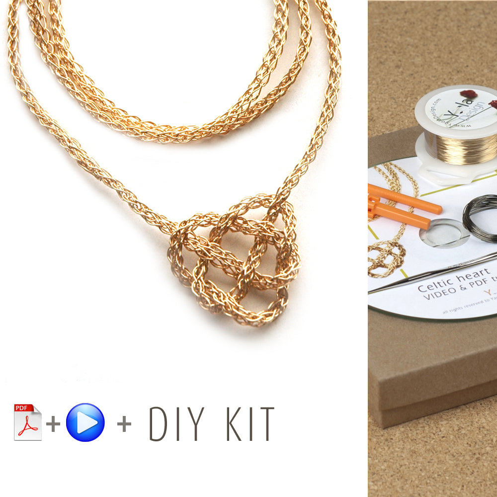 How to wire crochet a celtic heart necklace - DIY kit – Yooladesign