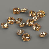 SOLD - Champagne Swarovski crystals 12mm faceted cushion