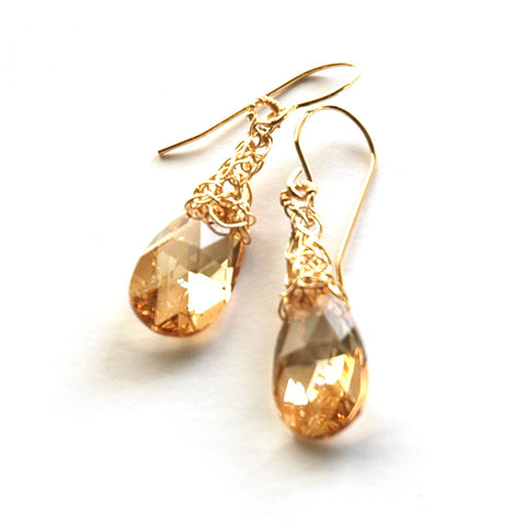 Amber Crystal Earrings, Dangle Gold Filled Swarovski earrings - Yooladesign