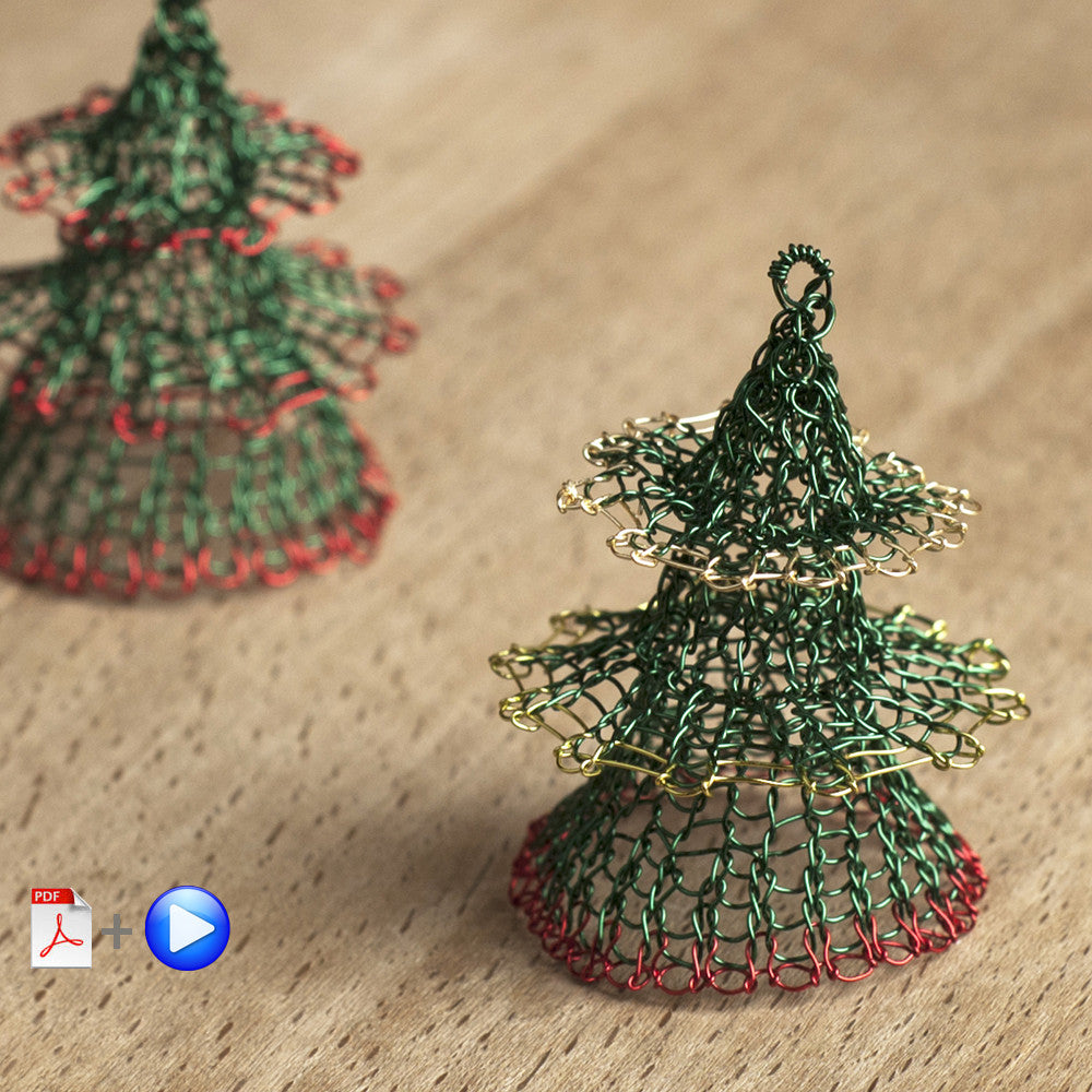 Christmas tree ornament VIDEO PATTERN - Advanced Level wire crochet pattern - Yooladesign