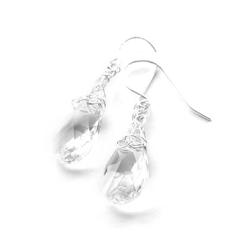 Crocheted Silver Drops , silver and clear swarovski crystal - Yooladesign