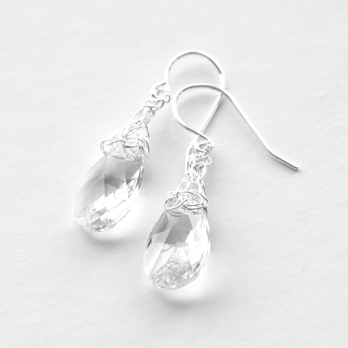 c2637a2ed Crocheted Silver Drops , silver and clear swarovski crystal - Yooladesign