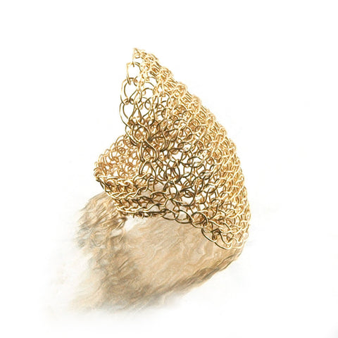 Cleopatra gold ring , wire crochet yellow gold filled ring
