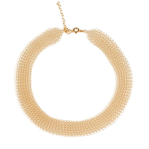 O - a modern wire crochet short necklace in gold - Yooladesign