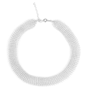 O - a modern wire crochet short necklace in silver - Yooladesign