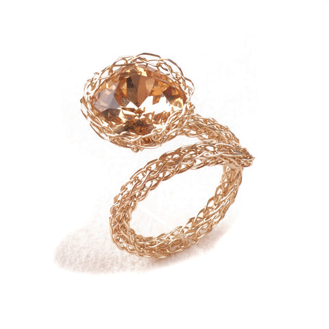 Contemporary Cocktail Ring , Adjustable Ring , Amber Crystal , Sparkle , Statement , Wire Crochet - Yooladesign