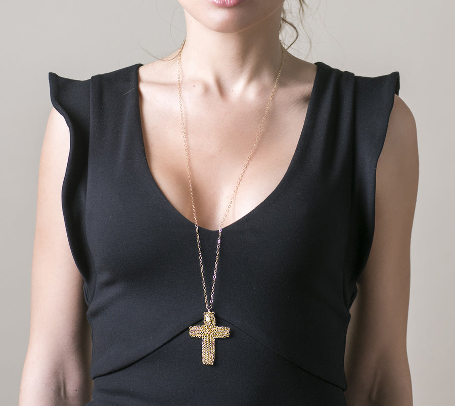 Large SILVER CROSS Necklace - Cross Jewelry - Yooladesign