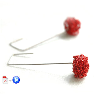 RED cube Crochet Earrings tutorial - PDF and video pattern, Wire crochet tutorial , Jewelry making - Yooladesign