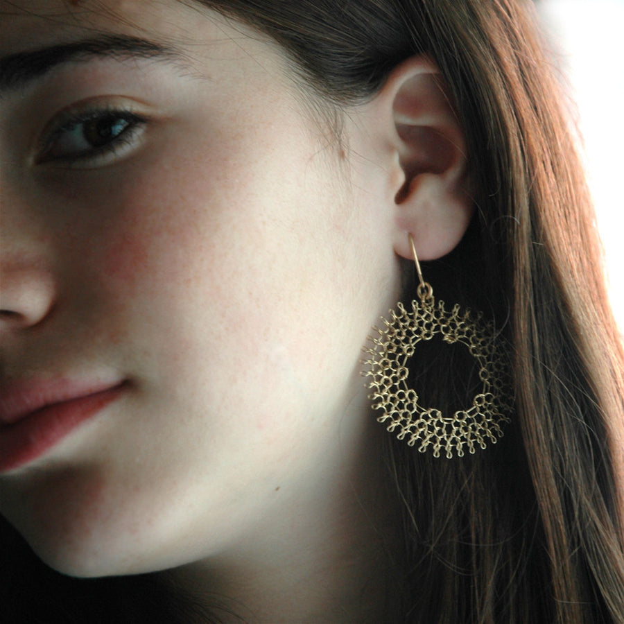Dream Catcher wire crocheted gold filled earrings , have a spiritual day ! - Yooladesign