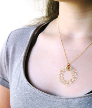 Dreamcatcher pendant necklace , wire crocheted dream catcher, made of gold filled - Yooladesign