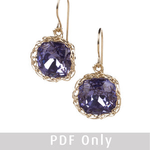 Crystal earrings PDF pattern, Jewelry lesson, how to crochet wire cabochon - Yooladesign
