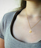 Small Pearl Pendant Gold Wire Crochet Necklace - Yooladesign