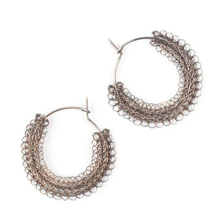 Gypsy hoop earrings, Gray sterling medium hoops