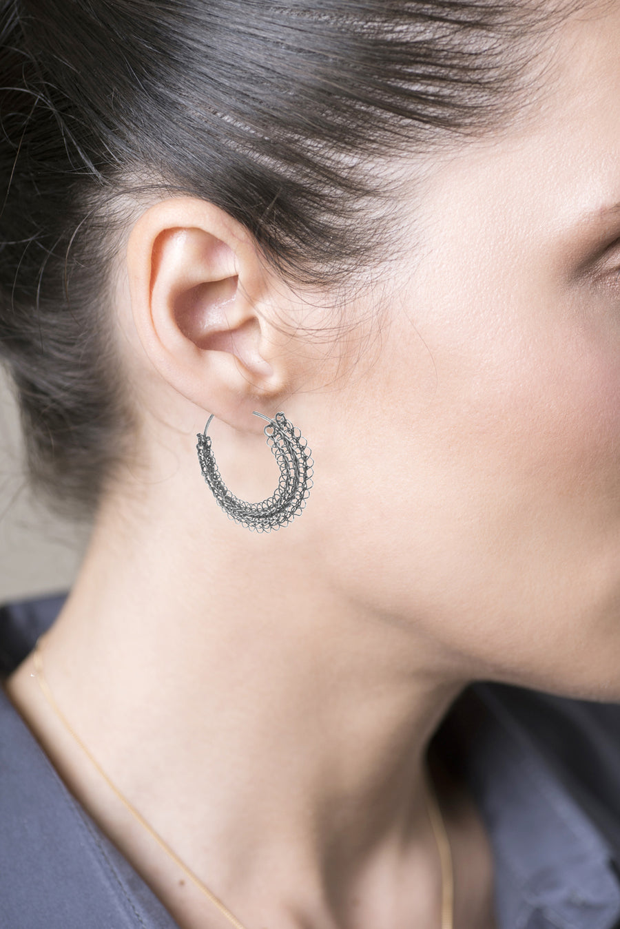 Gypsy hoop earrings, Gray sterling medium hoops - Yooladesign