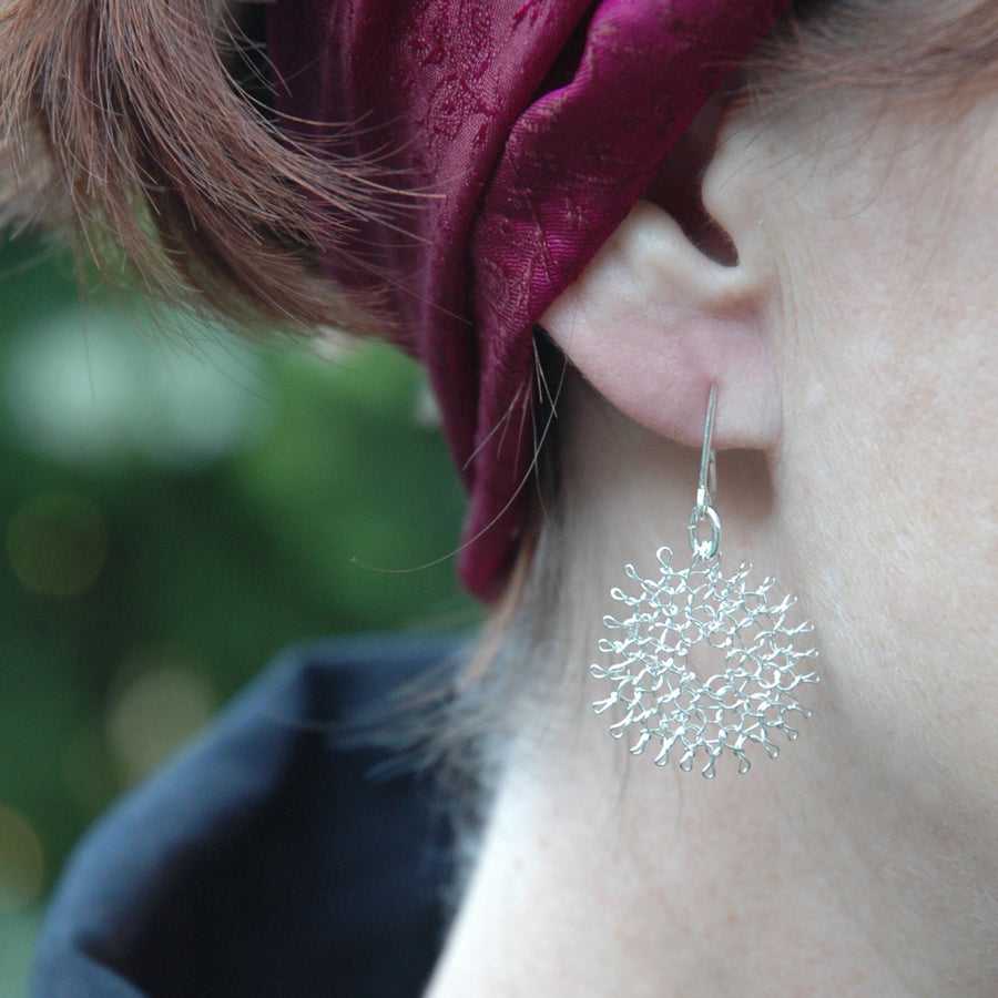 Silver Daisy Flower Earrings , Dangle Earrings , Wire Crochet , Feather Light - Yooladesign