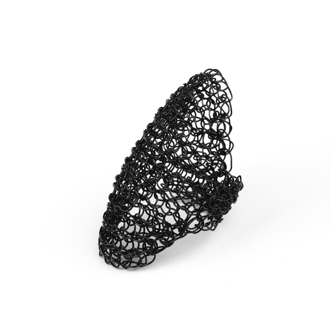 Full finger Black ring , wire crochet black jewelry - Yooladesign