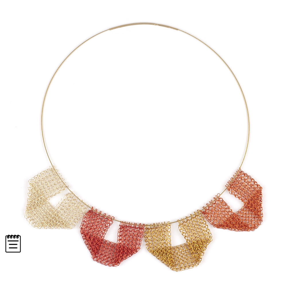 Geometric Bib necklace - Partial wire crochet pattern - Yooladesign