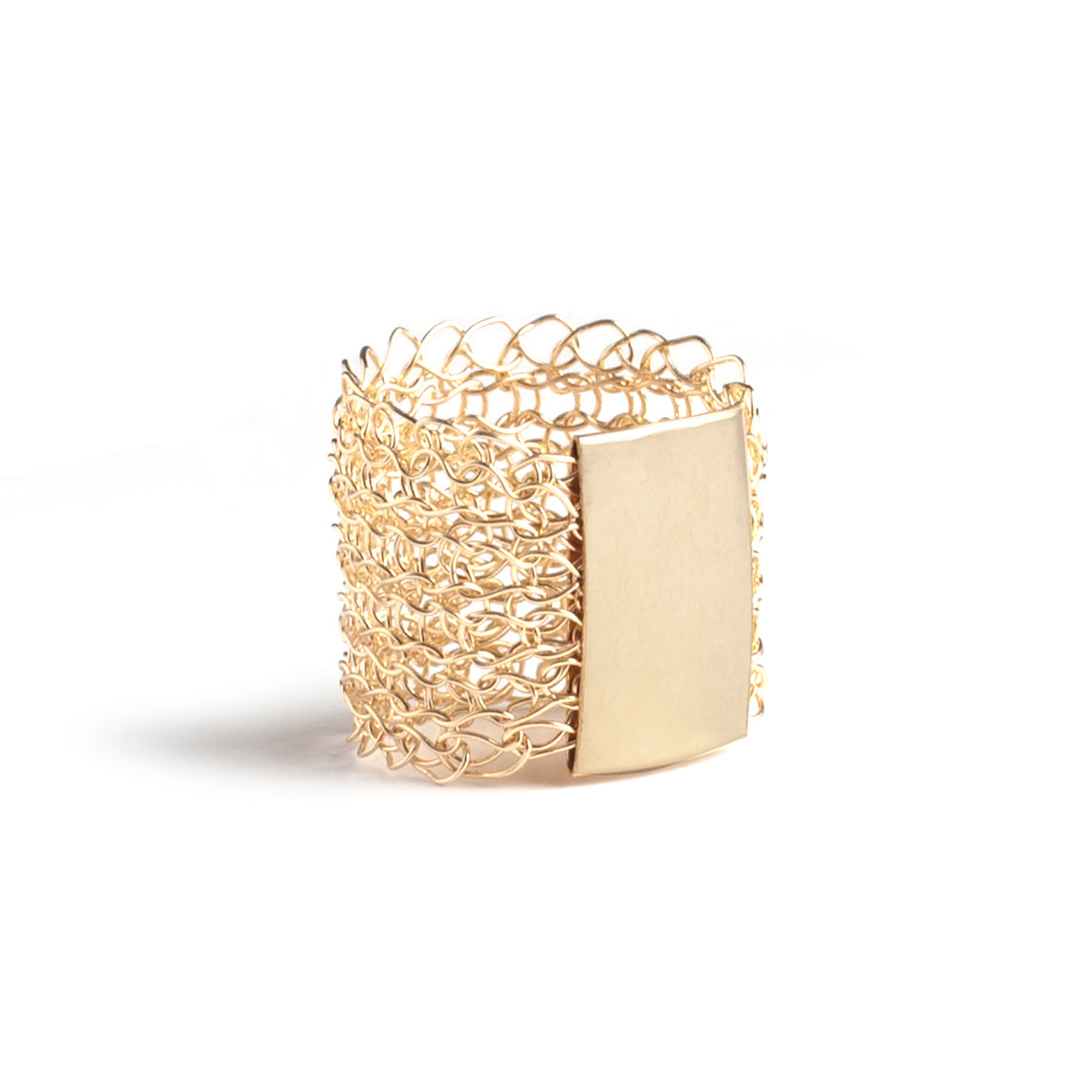 Geometric Gold Ring - wire crochet statement ring - Yooladesign