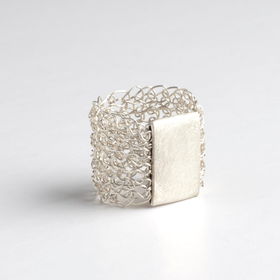 Silver Geometric Ring - wire crochet statement ring - Yooladesign