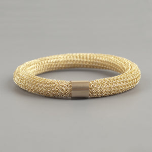 Chunky Gold Bangle bracelet , Wire Crochet Bracelet - Yooladesign
