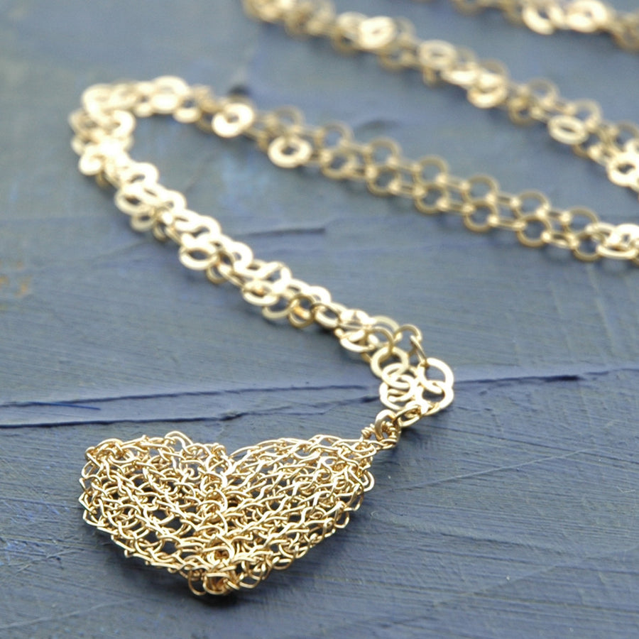 Heart pendant necklace , knitted gold heart - Yooladesign