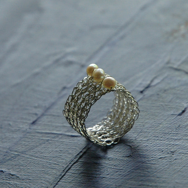 Silver Pearl Ring , Pearl Jewelry , Wire Crochet Jewelry , Water Pearl - Yooladesign