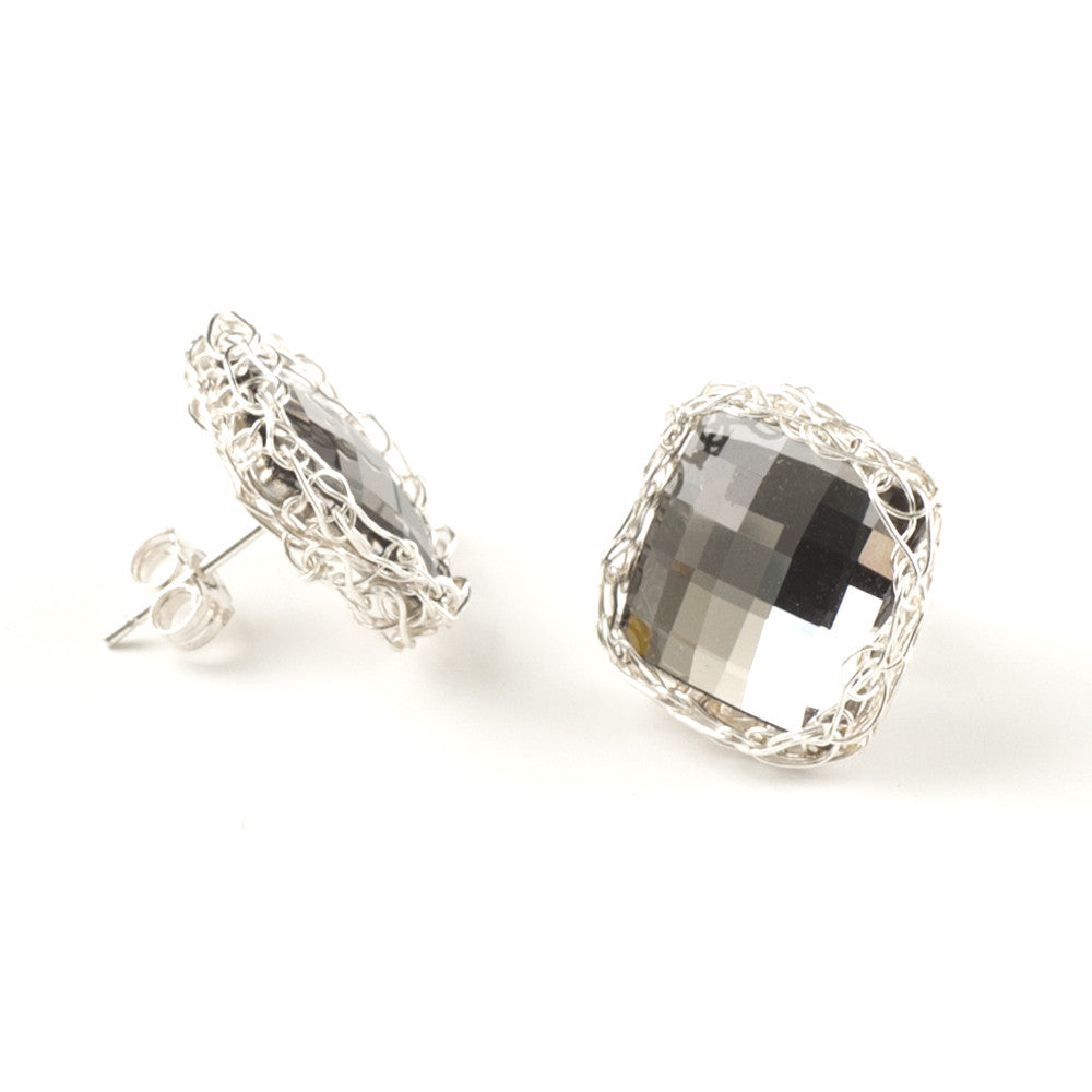 Crystal Stud Silver Earrings , Smoky Gray Swarovski Crystal - Yooladesign