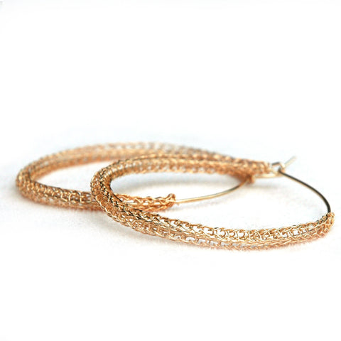 Large Rose Gold hoop earrings , large hoops - Yooladesign