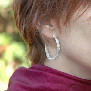 Large Silver hoop earrings , large hoops 4 cm hoop earrings , wire crochet earrings - Yooladesign