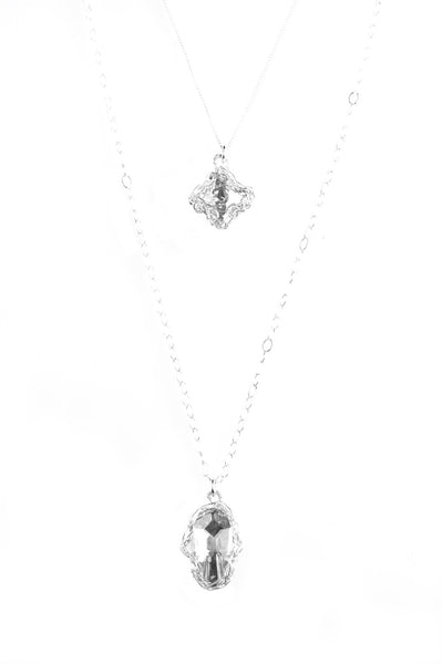 Silver Hamsa and Cross Layering Necklace, Swarovski pendants , Can be worn separately - Yooladesign