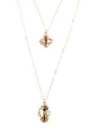 Gold Hamsa and Cross Layering Necklace, Swarovski pendants , Can be worn separately - Yooladesign
