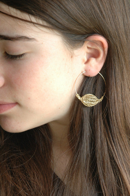Extra Large hoop earrings gold with a Volume Bead - Yooladesign