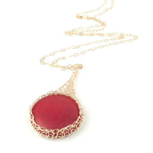 Large round RED Howlite pendant necklace, nested in gold wire crochet - Yooladesign