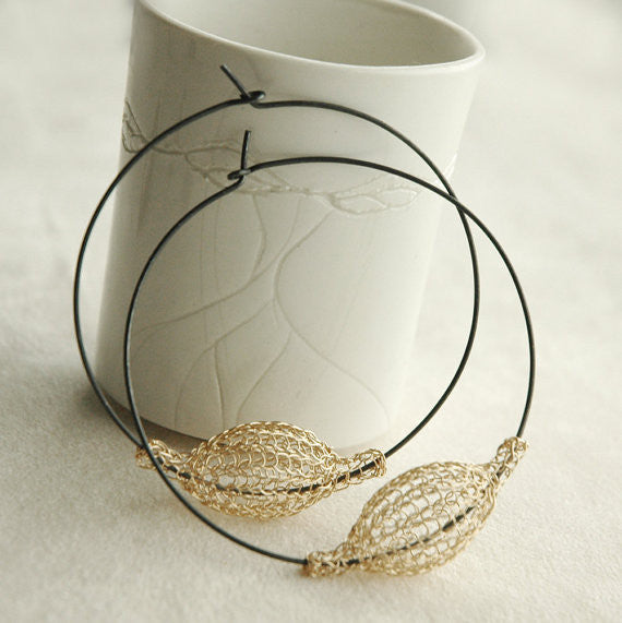Extra Large Gold and Silver Hoops , Gold Pod Bead on Oxidized Hoop , Wire Crochet Jewelry - Yooladesign