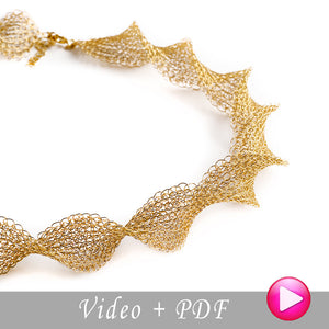 Wire Crochet pattern of INFINITY necklace , wire crochet VIDEO tutorial , jewelry making instructions - Yooladesign