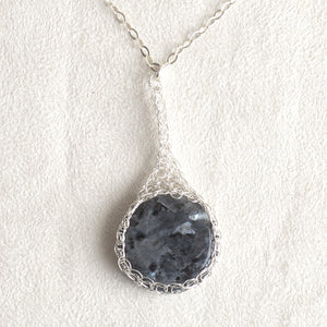 Large Gray Labradorite pendant necklace, nested in Silver wire - Yooladesign