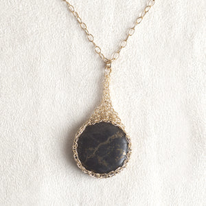 Large round Pyrite pendant necklace, nested in gold wire crochet - Yooladesign