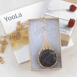 Pyrite pendant necklace in a gift box