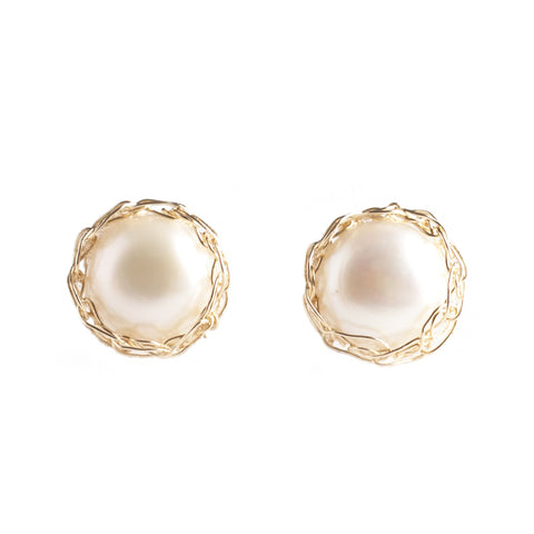 PURE, LARGE Pearl Stud Earrings , Gold Pearl post earrings - Yooladesign