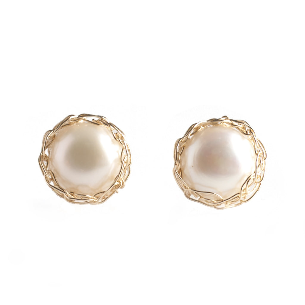 LARGE Pearl Stud Earrings , Gold Pearl post earrings – Yooladesign
