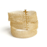 Gold Layered Bracelet Cuff , Wire Crochet Bridal Cuff , Handmade Bridal Jewelry - Yooladesign
