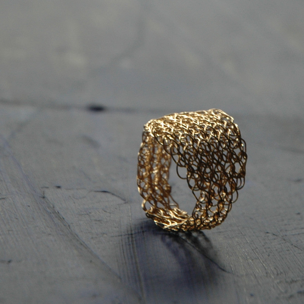 Gold Leaf Ring , Wire Crochet Jewelry, Every Day Jewelry, Gold Ring - Yooladesign