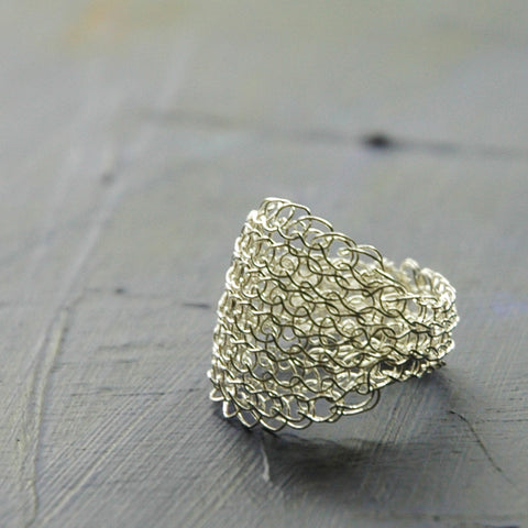 Silver Leaf Ring , Wire Crochet Jewelry, Every Day Jewelry, Silver Ring - Yooladesign